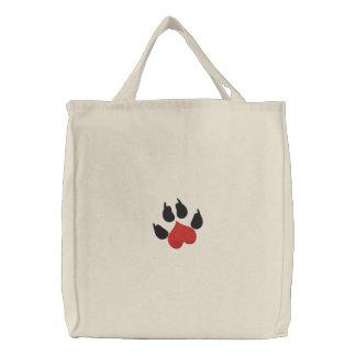 Pata del perro del corazón del amor bolsa de mano bordada