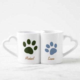 pata masculina del perro y pata femenina del perro taza para enamorados