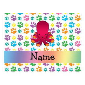 Patas conocidas personalizadas del arco iris del postal