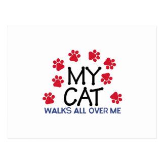 Patas de los paseos de gato postal