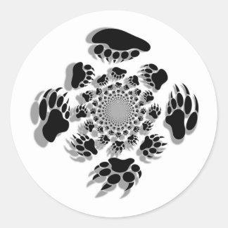 Patas de oso pegatina redonda
