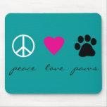Patas del amor de la paz tapete de ratones