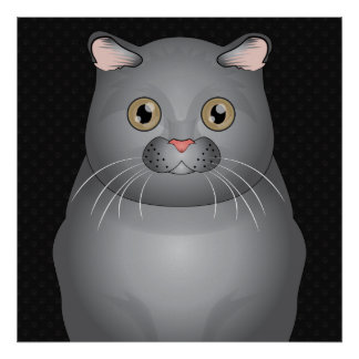 Patas del dibujo animado del gato del doblez del e poster