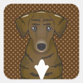 Patas del dibujo animado del perro de caza de pegatinas cuadradases personalizadas