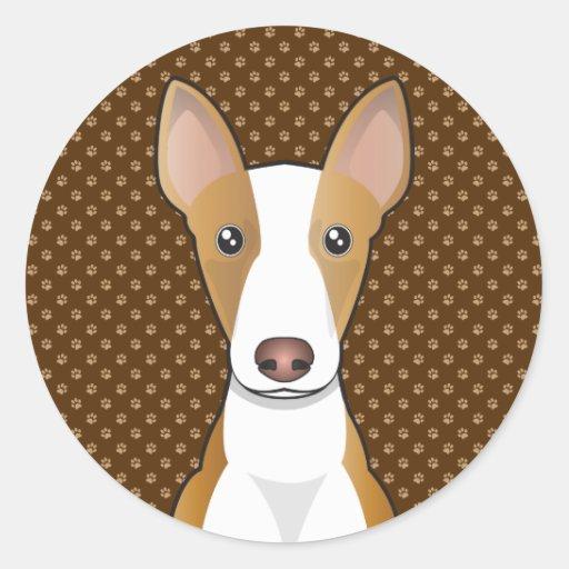 Patas del dibujo animado del perro de caza de etiqueta redonda