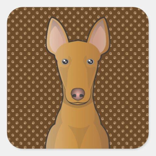 Patas del dibujo animado del perro de caza del calcomanía cuadradas personalizada