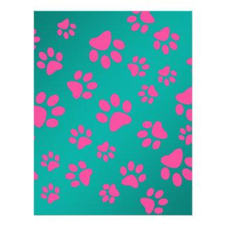 Patas rosadas del perro de la turquesa folleto 21,6 x 28 cm