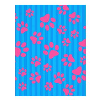 Patas rosadas del perro de las rayas azules de folleto 21,6 x 28 cm
