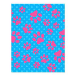 Patas rosadas del perro de los lunares del azul de folleto 21,6 x 28 cm