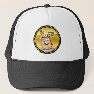 Patata patriótica con el gorra americano y una