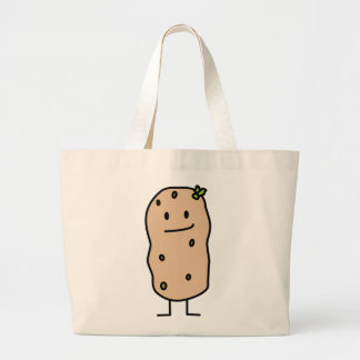 Patata sonriente linda feliz bolsa tela grande
