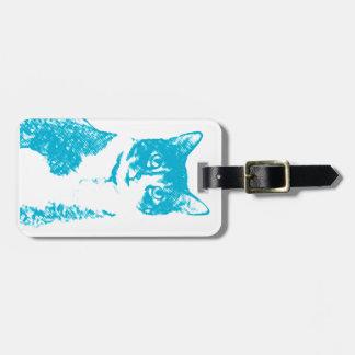 Patea el gato en etiqueta azul del equipaje