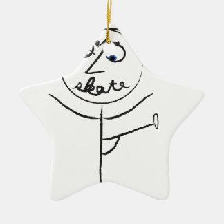 Patinador 2013 adorno navideño de cerámica en forma de estrella