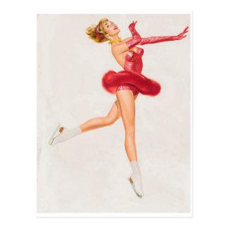 Patinador de hielo en rojo. Pin encima del arte Postal