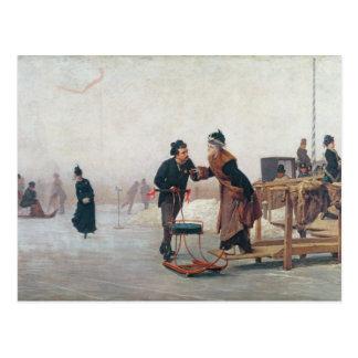 Patinadores en el lago Valentino Postal