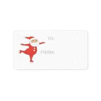 Patinaje de hielo de Papá Noel GIFT-TAG Etiquetas De Dirección
