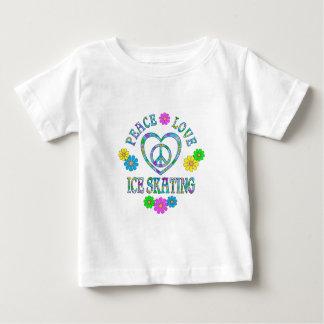 Patinaje de hielo del amor de la paz camiseta de bebé