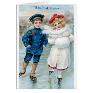 Patinaje de hielo del chica del muchacho de la tarjeta de felicitación