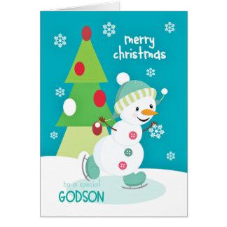 Patinaje de hielo del muñeco de nieve del navidad tarjeta