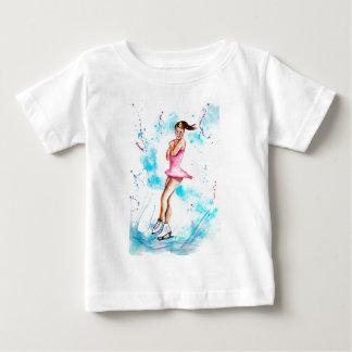 Patinaje de hielo la figura patinador del salto camiseta de bebé