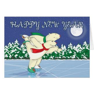 Patinaje de los osos polares tarjeta de felicitación