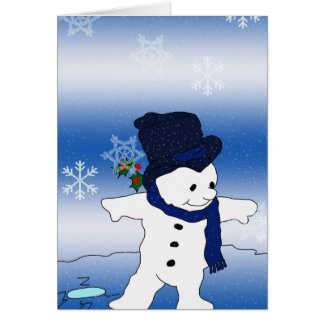 Patinaje del muñeco de nieve tarjeta