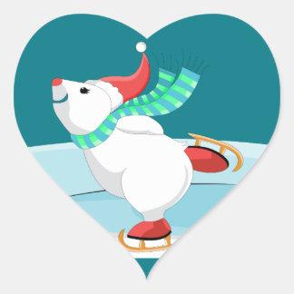 patinaje del oso blanco pegatina en forma de corazón