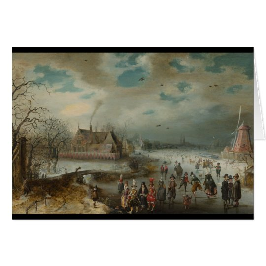 Patinaje en el río congelado de Amstel Tarjeta De Felicitación