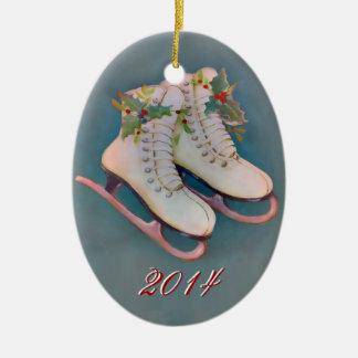 Patines de hielo 2014 adorno navideño ovalado de cerámica