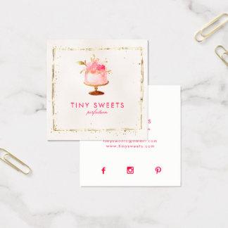 Patisserie, panadería, tortas y dulces hermosos tarjeta de visita cuadrada