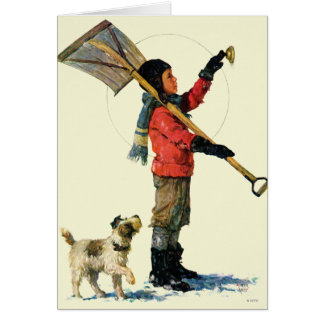 Pato cuchara de la nieve tarjeta de felicitación