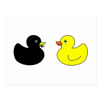 Pato de goma muerto estado de luto por el pato de postal