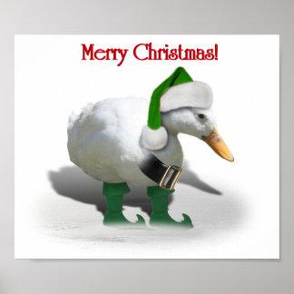 Pato del duende del navidad - el ayudante de Santa Póster