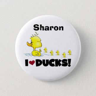 Patos amarillos del amor de los niños de los chapa redonda de 5 cm