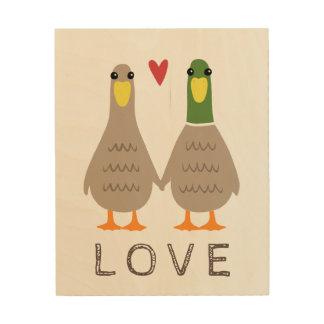 Patos del amor impresión en madera