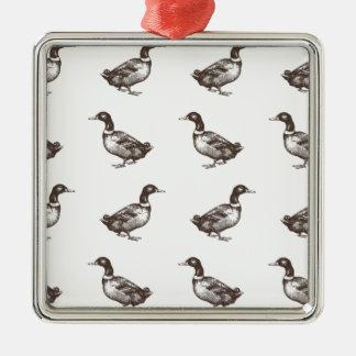 Patos del corral de la colección de Emma Janeway Adorno Navideño Cuadrado De Metal