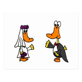 Patos divertidos novia y dibujo animado del boda postal