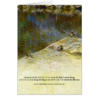 Patos y charca del rezo de la serenidad tarjeta de felicitación
