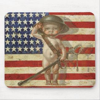 Patriota Mousepad del vintage con el héroe del beb Alfombrilla De Ratón