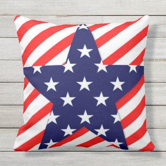 Patriótico, 4to de julio, diseño de la estrella cojín decorativo