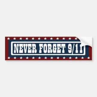 PATRIÓTICO NUNCA OLVIDE a 9/11 pegatina para el