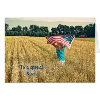 Patriótico para la sobrina tarjeta de felicitación