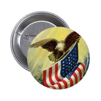 Patriotismo del vintage, bandera americana chapa redonda de 5 cm