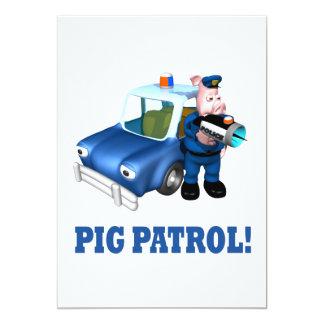 Patrulla del cerdo invitación 12,7 x 17,8 cm