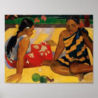 Paul Gauguin dos mujeres de vintage de Tahití Póster