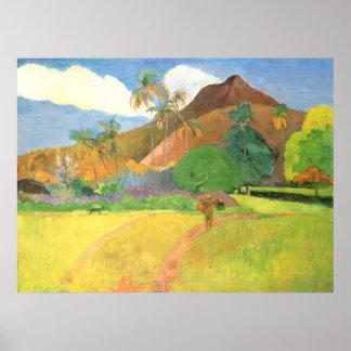 Paul Gauguin, paisaje de Tahitian, montañas Tahití Póster