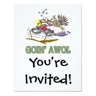 pavo divertido AWOL que va Invitación 10,8 X 13,9 Cm
