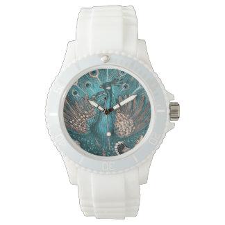 pavo real azul reloj