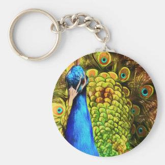 Pavo real colorido llavero