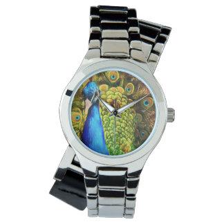 Pavo real colorido reloj